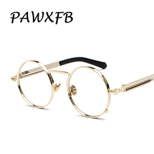 Pop Age 2018 Newest Round Steampunk Optical glasses Women Men Spring legs Clear lens Vintage Eyeglasses Frames Oculos