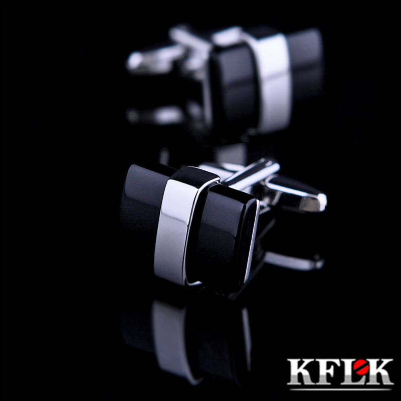 KFLK Jewelry Shirt Cufflinks For Mens Brand  Black Cuffs Links Wholesale Button High Quality Luxury Wedding Groom Free Shipping