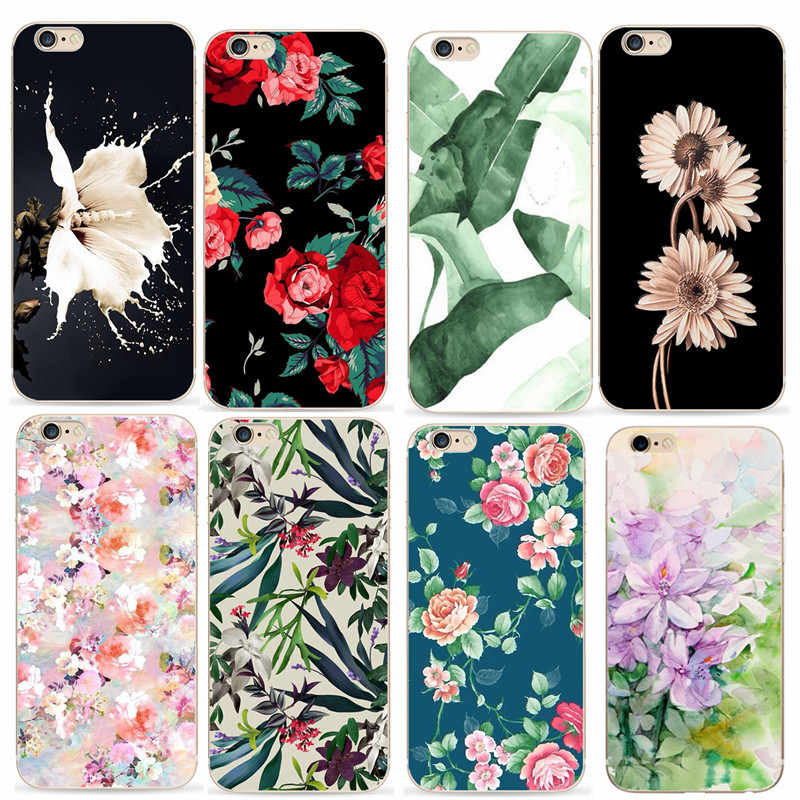 Flower TPU Case For Apple iPhone 6 6s Back Phone Cover For iPhone 5 5s SE Soft Silicone Case Cover For iPhone 7 8 6 Shells Bags