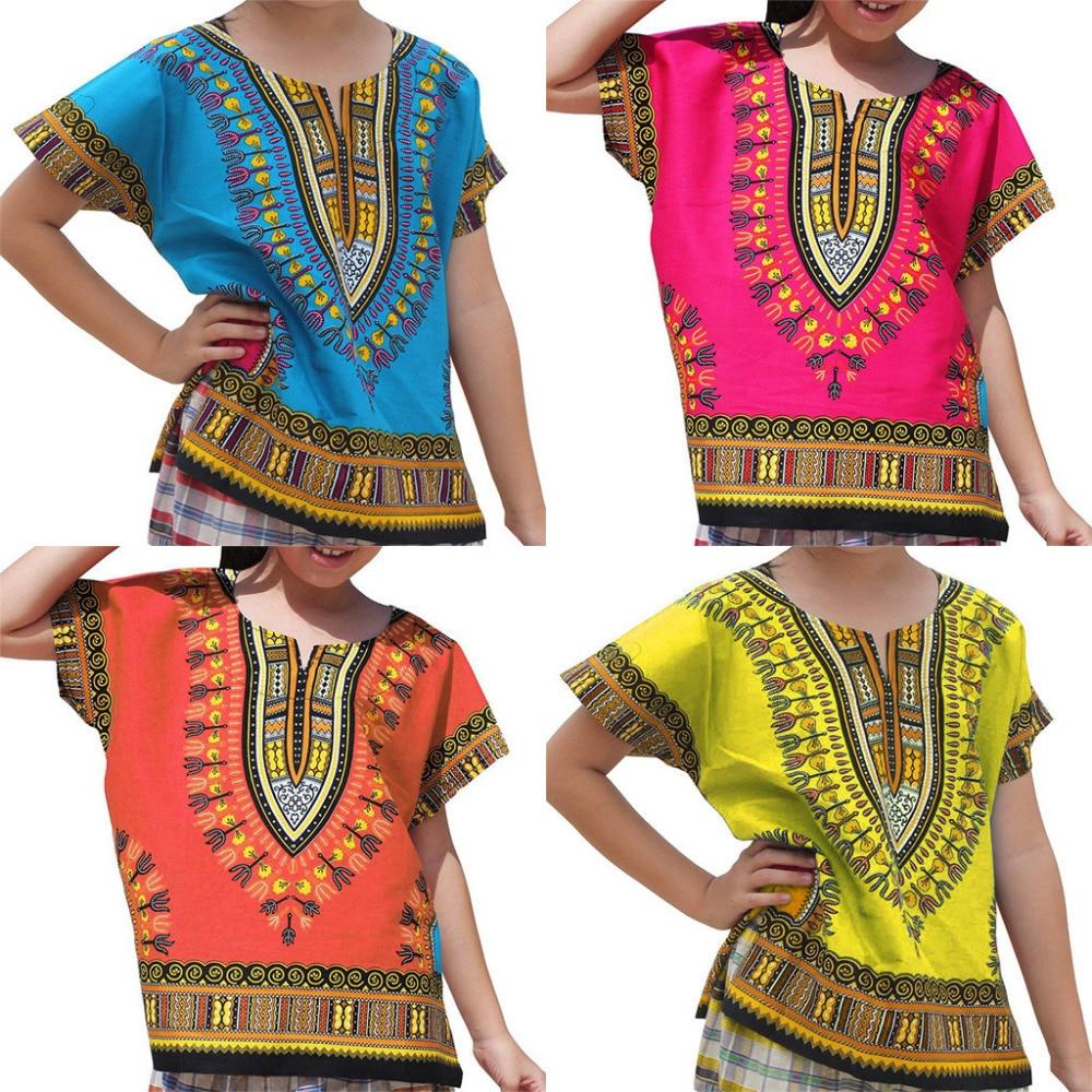2019 Neuer Stil Bunte Ethnische Stil Junge Mädchen Kinder Baby Unisex Helle Afrikanische Farbe Kind Dashiki T Shirt T Tops 2019 Neue Mode