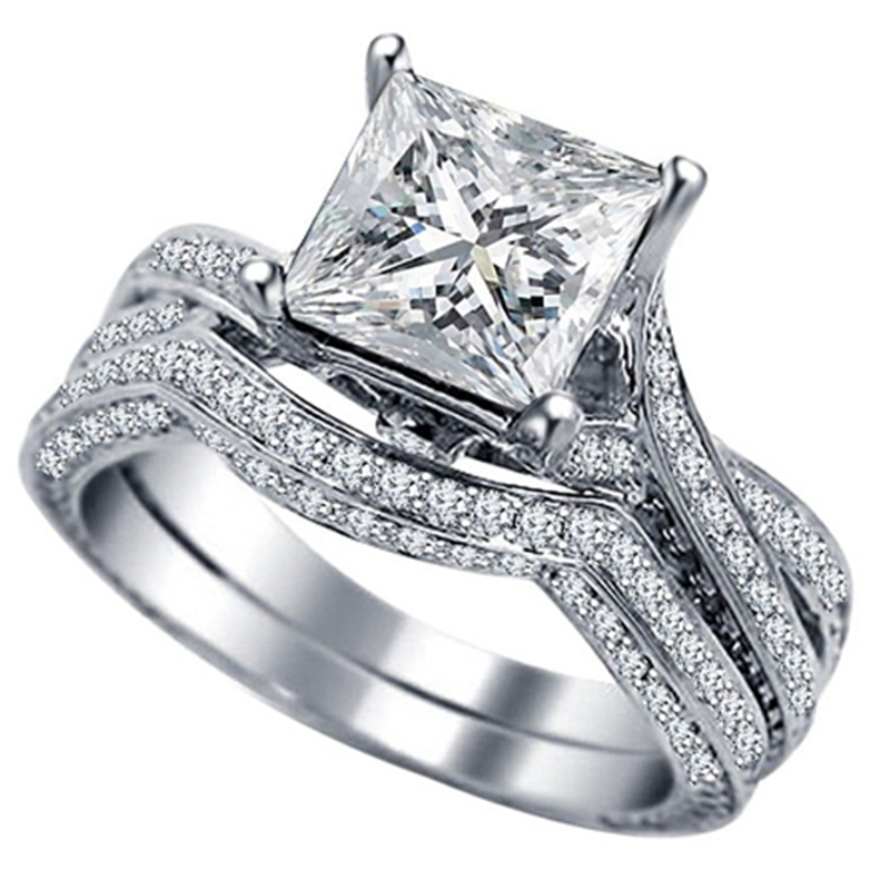 Size 5 11 Platinum Plated Sterling Silver Princess Cut Stone Wedding Engagement Ring Promise Statement Christmas
