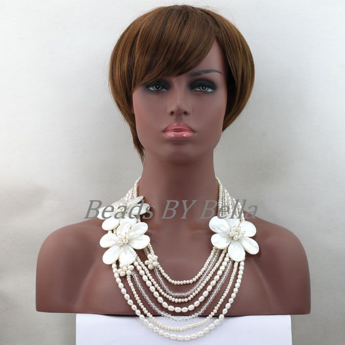 Fashion Pearl Necklace 7 Rows White Beaded Chain Necklace Handmade Shell Flower For Wedding Jewelry New Free Shipping ABL325 набор посуды антипригарное покрытие rondell the one rda 563 4шт 16 24 24 24