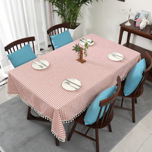 Multi-size striped fringed tablecloth tricolor optional cotton and Linen Tablecloth household dining room decorative