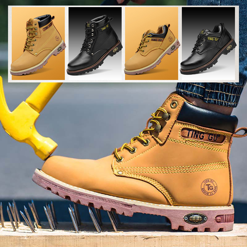 Steel toe cap Safety shoes anti break stab boots high boots protective shoes Men s mining