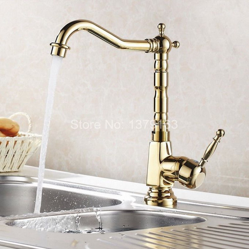 Golden Brass Kitchen Sink Faucet One Hole Handle Modern Gold Color Mixer Taps Swivel Spout agf031