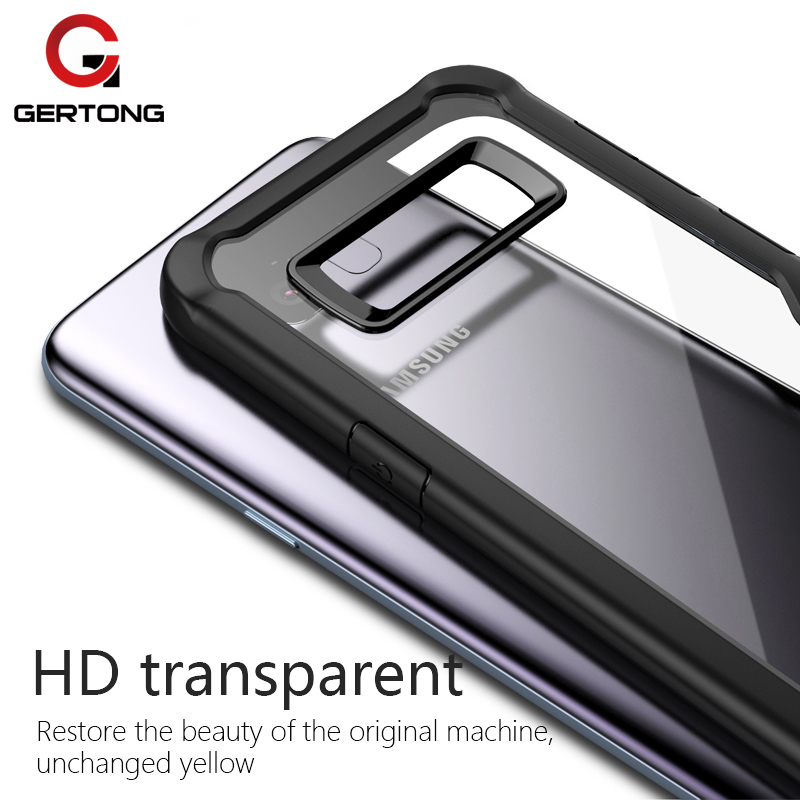 GerTong Luxury Soft TPU Silicone Hard PC Case For Samusng Galaxy S8 S9 Plus Note 8 A8 Plus 2018 Acrylic Back Cover Shell Capa ...