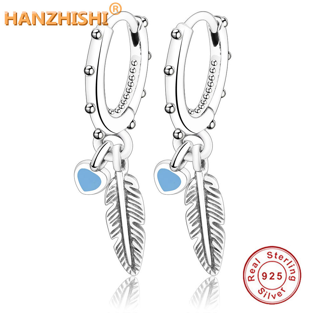 2018 Summer Collection 925 Sterling Silver Original Spiritual Feathers Heart Stud Earrings Jewelry Making For Women Gift jewelry making