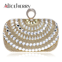 Woman Fashion Luxury Bridal Evening Clutches bag Diamonds Pearl Ring Finger Handbag Famous Designer Tote Bags
