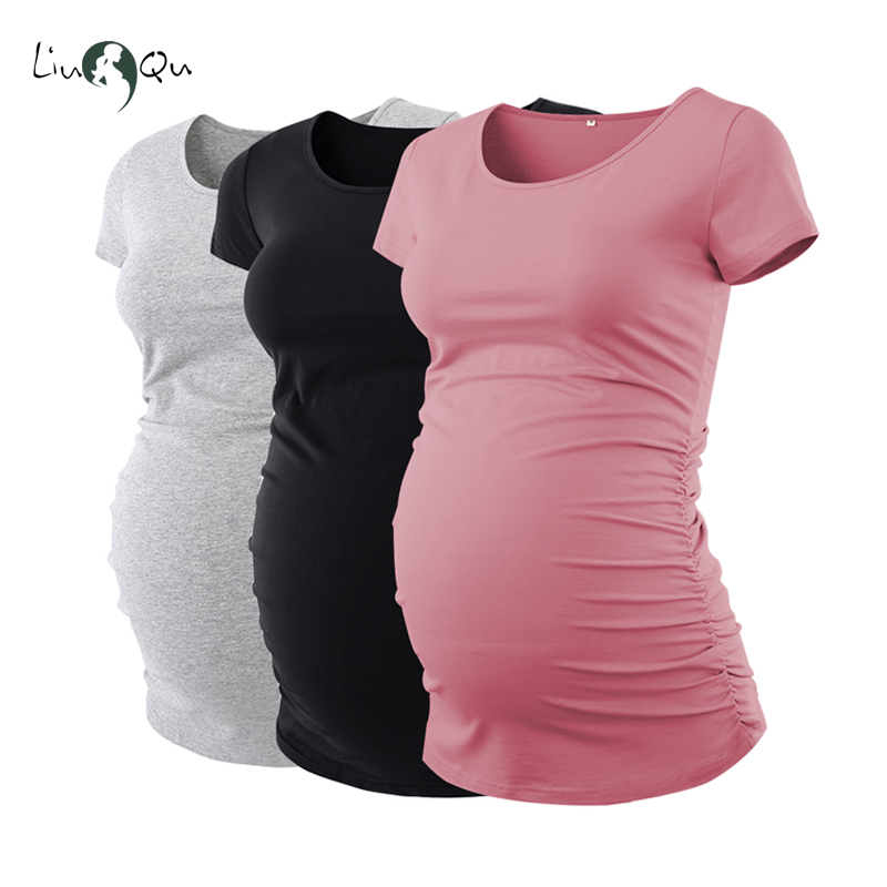 Pack Of 3pcs Maternity Clothes Ropa Embarazada Tee Shirt Tops Pregnancy T-Shirt Casual Flattering Side Ruching(China)