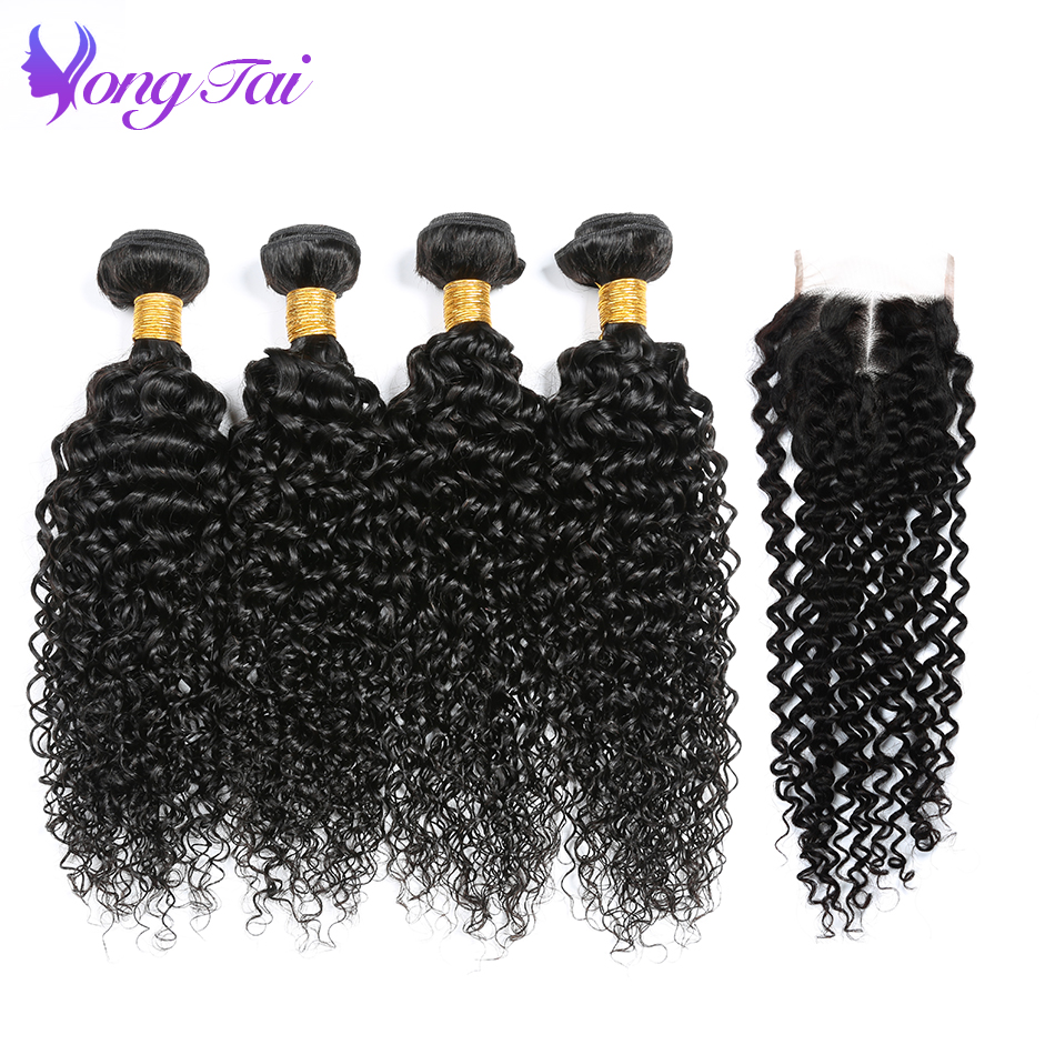 Yongtai Hair Indian Kinky Curly 4 Bundles With Closure 100% Human Hair Bundles With Closure Non Remy Hair Weave Extensions