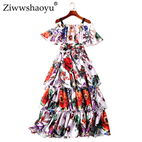 Ziwwshaoyu Sexy backless cupcake dress Slash neck Ruffles Print Party dresses 2019 spring and summer runway new women