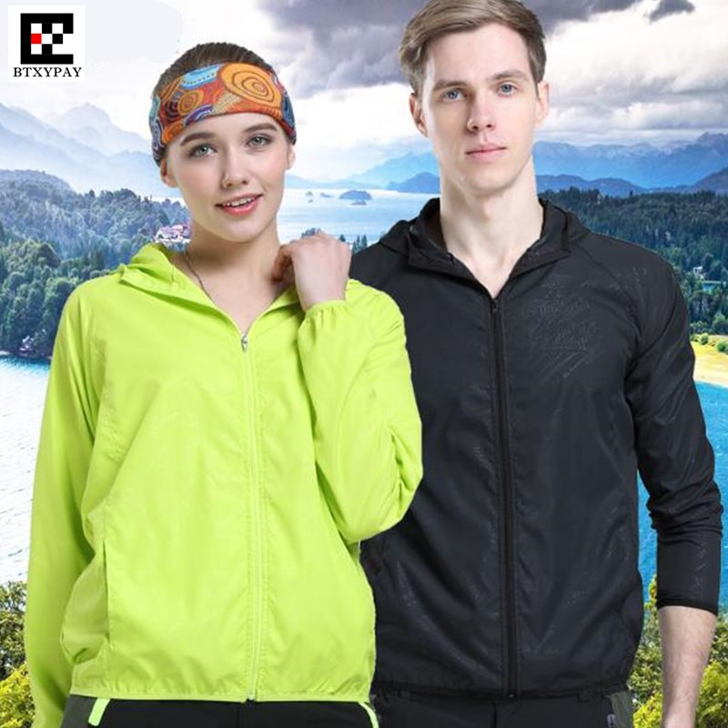 100p Lovers Hooded Windproof Hiking Jacket Quick-dry Fitness Anti-rain Anti-UV Ultrathin Lightweight Sun-Protective Fishing Coat