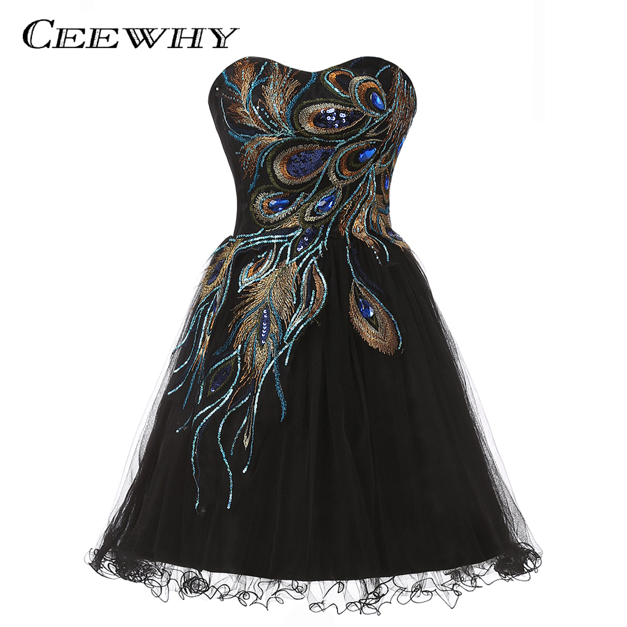 CEEWHY Black Dress Sweetheart Embroidery Elegant Robe de Cocktail Dress Short Graduation Party Dress Special Gowns Knee Length