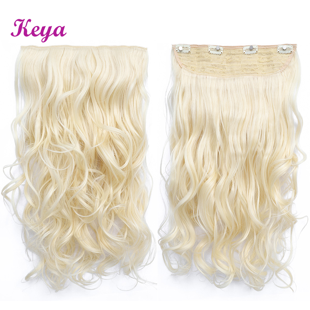 Natural Halo Hair Extensions 24 inch Clip in Hair Extensions 4 Clips in One Piece Synthetic Heat Resistant Fiber 190g(China)