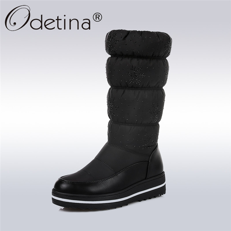 Odetina 2017 New Winter Warm Snow Boots Waterproof Thick Fur Platform Mid Calf Half Boots Fashion Casual Shoes Soft Big Size 44 double buckle cross straps mid calf boots