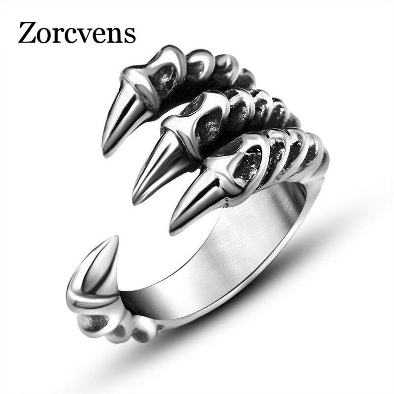 ZORCVENS nouveau Punk Rock acier inoxydable hommes Biker anneaux Vintage gothique bijoux argent-couleur Dragon griffe anneau hommes