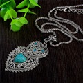Double Heart Green Turquoise Stone Pendant Necklace Tibetan Silver Women's Crystal Fashion Necklace Jewelry Free Shipping