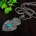 Duplo coração verde turquesa pedra pingente colar de mulheres tibetanas cristal de moda colar de jóias frete grátis