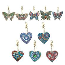 5 Pcs / Lot DIY Special Shape Full Diamond Painting Keychain Kit Butterfly Love Cross Stitch
