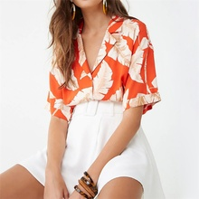Blouses Women 2019 Summer Short Sleeve Chiffon Blouse Shirt Casual Tops Striped Turn Down Collar Office Shirt Printed Blusas