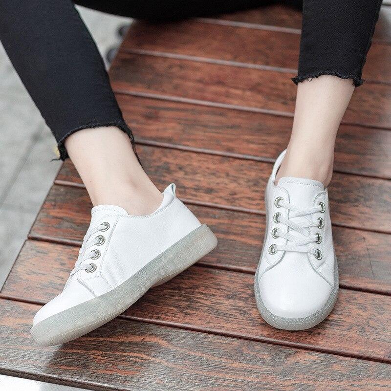 Elastische Erste Und Mode Schuhe Leder Sommer Schuhe Neue weiß Runde 2019 Casual Schicht Band Schwarzes Frauen Kopf Sondern Frühling YOFPPq