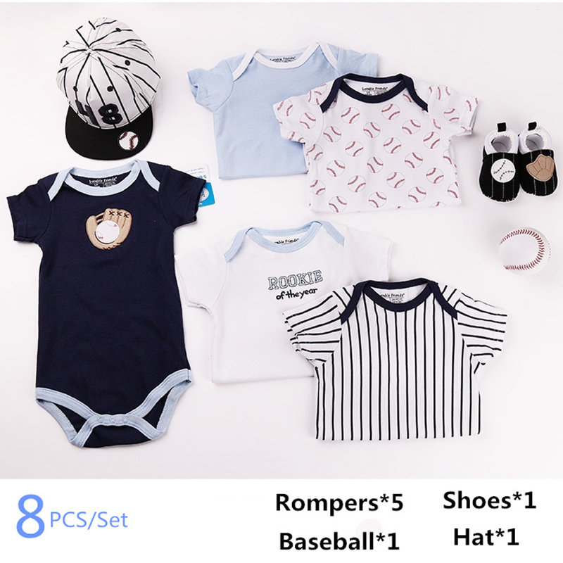 2018 Spring Summer New Newborn Baby Baseball Romper Clothing Set 100% cotton Character Infant Clothes Suits Baby Gift Set free shipping new 2017 spring autumn baby clothing infant set gift baby jumpsuits newborn romper 4pcs set 2pcs romper hat bib