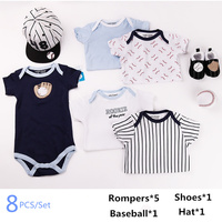 2018 Spring Summer New Newborn Baby Baseball Romper Clothing Set 100% cotton Character Infant Clothes Suits Baby Gift Set