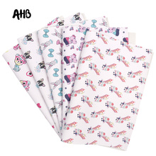 AHB Synthetic Leather Fabric Cute Animals Printed Faux Leather Sheets For DIY Kids Hair Accessories Theme Party Decor Materials цена и фото