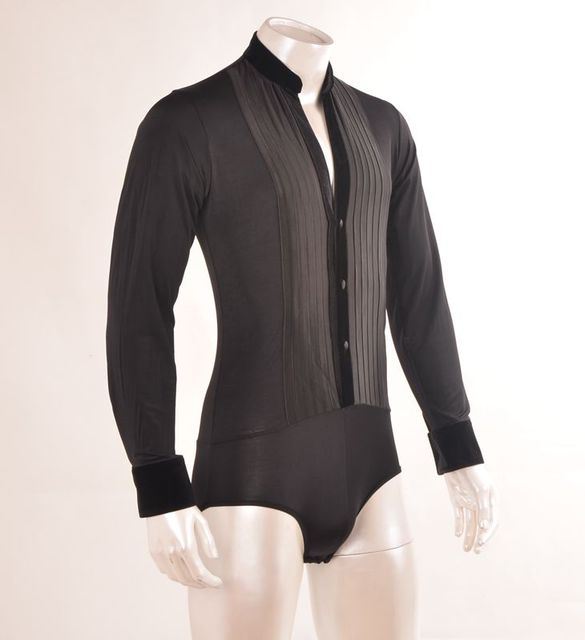 Mens Ballroom Shirts Latin Dance Top Mens Sexy Performance Dancewear Deep V-neck Standup Collar