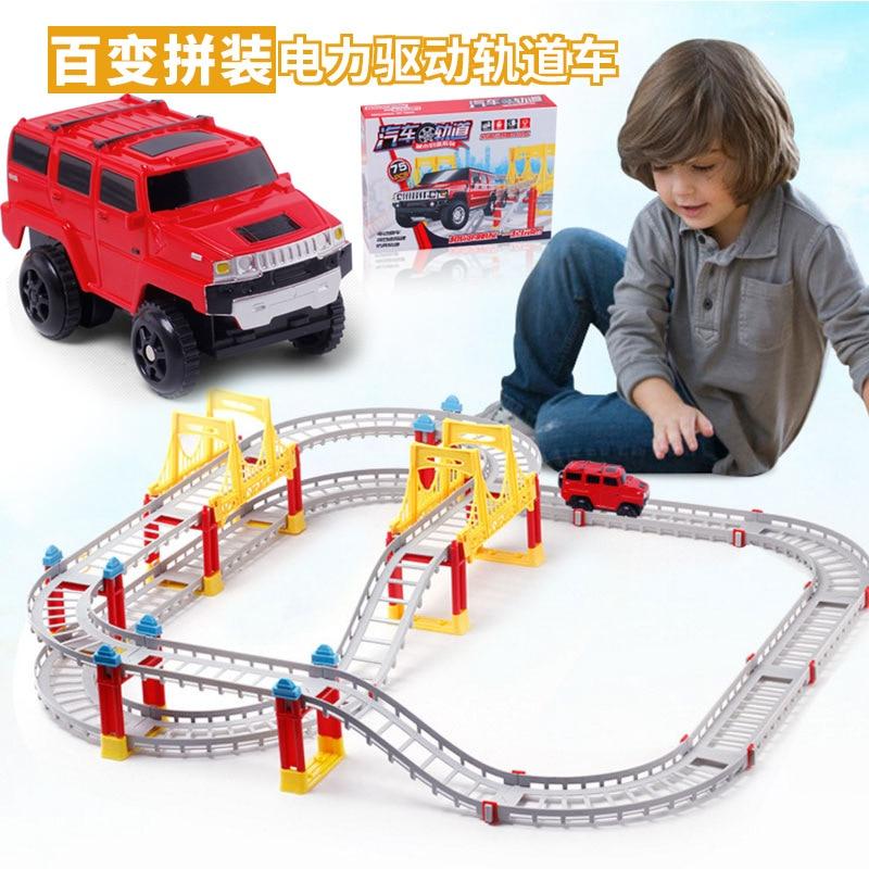 DIY Multi-Track Rail Car Electronic Racing Car Track Kids Toy Game Boys Xmas Gift Rail Building Block Electric Track Toy
