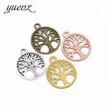 Yuenz 10 pçs cor de prata antigo metal vida árvore encantos diy moda artesanal pingente encantos para jewerly fazer 23*19mm q252