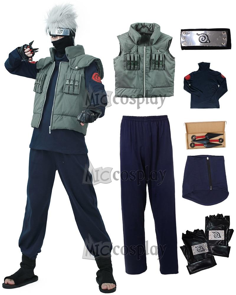 Full Set Naruto Kakashi Hatake Cosplay Costume with Headband Mask and accessories