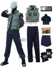 Kakashi cosplay traje naruto cosplay hatake kakashi ninja colete bandana máscara e acessórios carnaval roupa