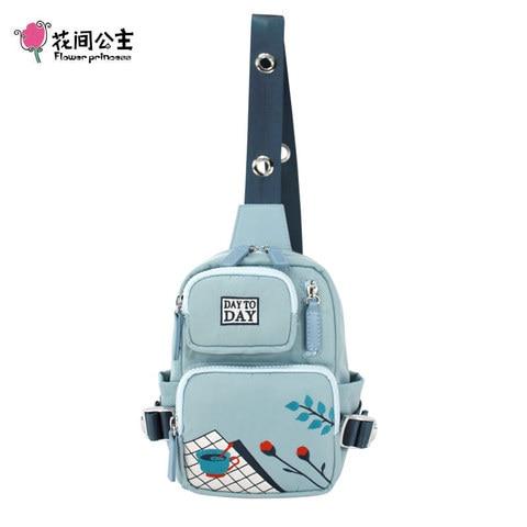 Bolsas de Nylon Pacote de Cintura Pacotes de Viagem Malote do Telefone Flor Princesa Mulheres Bolsa Peito Bordado da Cintura Peito Feminino Menina Lady Peito