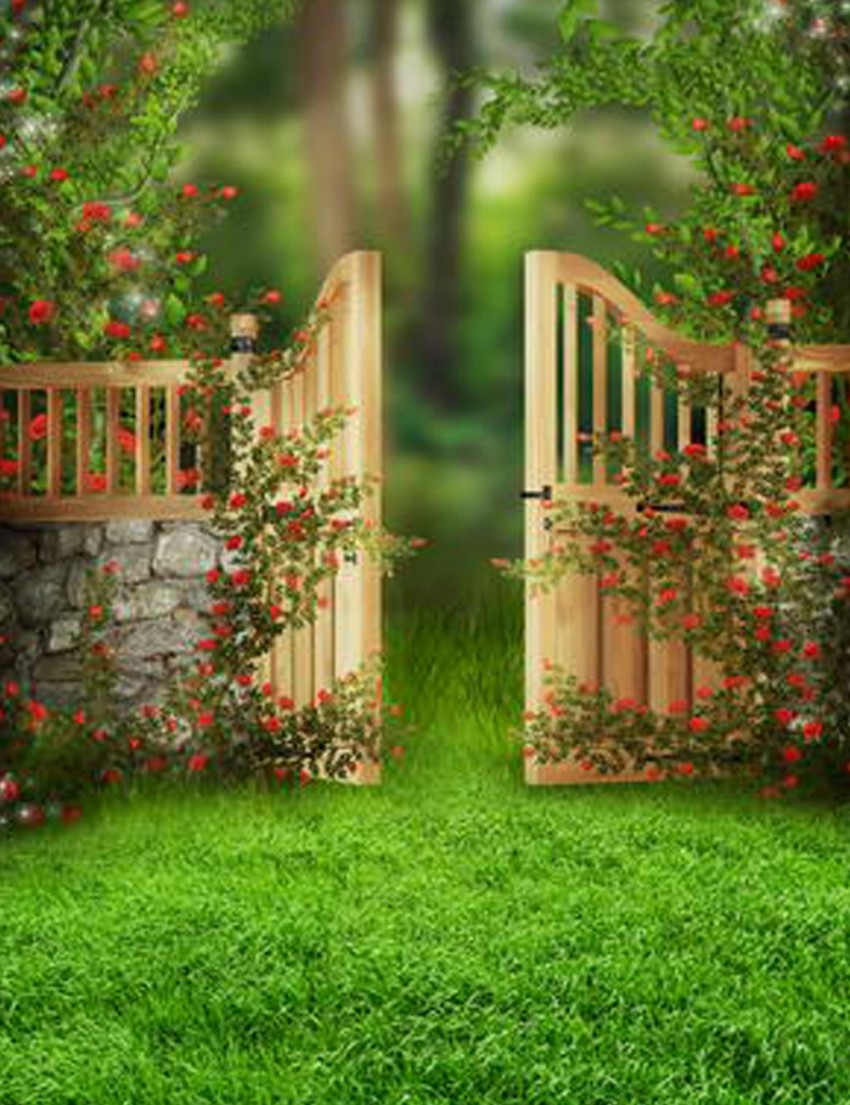 Scenic Photography Backdrops Stone Wood Door Green Lawn Children Baby Studio Background fondos para la foto