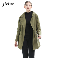 Jielur Autumn Fashion Lady Army Green Trench Coat Women Single Breasted Pocket Long Coats Female Europe Solid Color Windbreaker