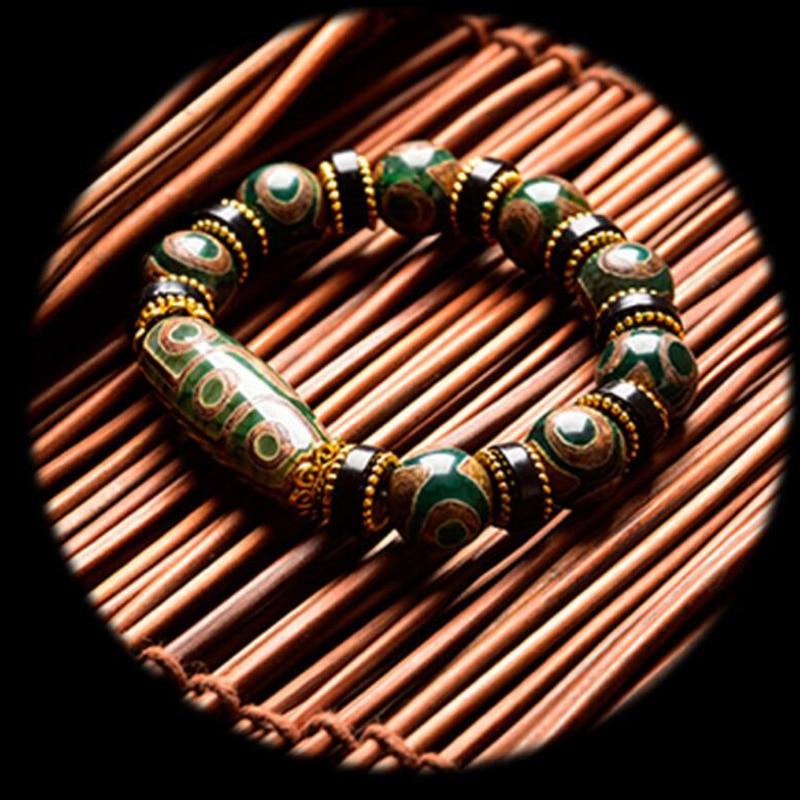 New Selling Men and Women's Nine-Eye Pearl Bracelet Natural Jade Chalcedony Hand String Ethnic Style Tibetan Restoration Tri-Eye