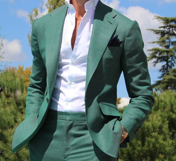 Latest Coat Pant Designs Green Men Suit Slim Fit Tuxedo 2 Piece Fashion Blazer Casual Custom Simple Party Suits Terno Masculino