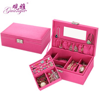 Wholesale Princess European Wooden Jewelry Box Cosmetic Box Storage Box With Mirror Jewelry Hook Holder Jewelry Box 5 Color