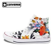 Fish Carp Mural Design Hand Painted Converse Sneakers Women Men Canvas Sneakers Brand All Star Shoes Original Chuck Taylor