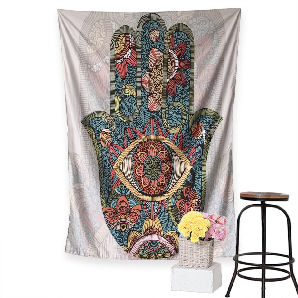Hamsa Hand Tapestry Bohemia Indian Mandala Floral Wall Hanging Tapestry For Home Psychedelic Bedspread Beach Mat Yoga Mat