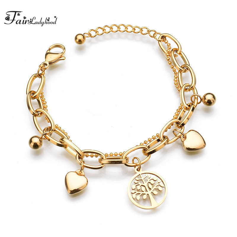 FairLadyHood 316L Stainless Steel Women Bracelet Tree of Life Charm Bracelt ...
