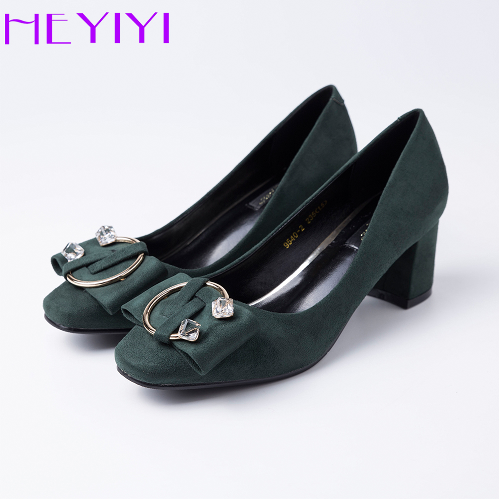 HEYIYI Shoes Women Dress Pumps High Heels Chunky Classic High Quality Suede Leather Half Ring Ladies Brand Shoes Free Shipping