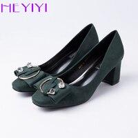 Heyiyi أحذية النساء مضخات عالية الكعب مكتنزة كلاسيكي جودة عالية جلد الغزال نصف الدائري السيدات ماركة الأحذية الشحن المجاني
