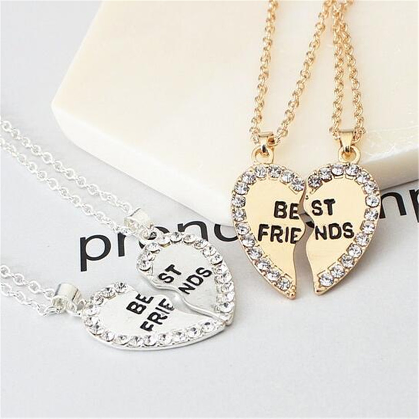 Lusion Jewelry Gold Sliver Color Best Friends Heart Pendant Neckalces Woman Simple Multi ...