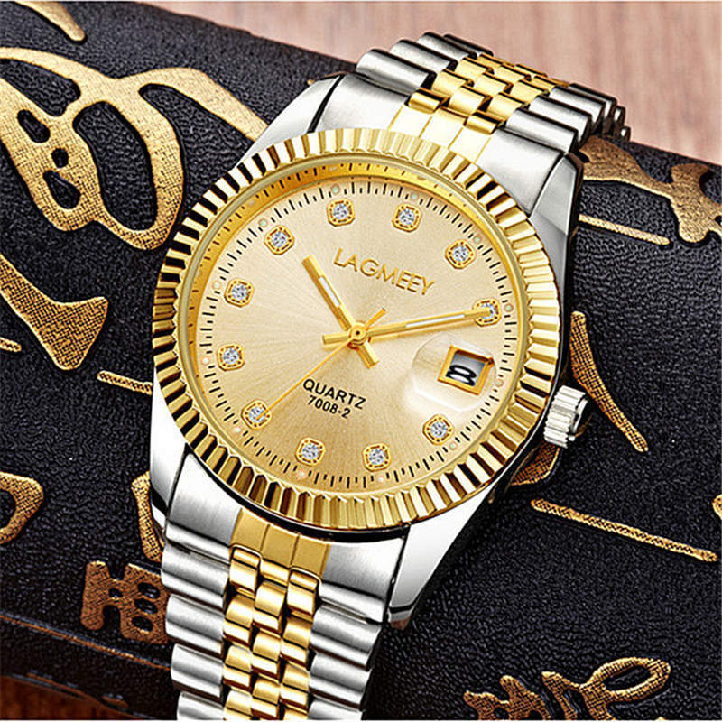Watch Fashion Mens Watches Gold Stainless Steel Wristwatch Calendar Date Clock WLISTH Brand Luxury Women Waterproof High Quality drop shipping 2017 new hot sales brand wlisth fashion men waterproof quartz watch good quality stainless steel belt wristwatch