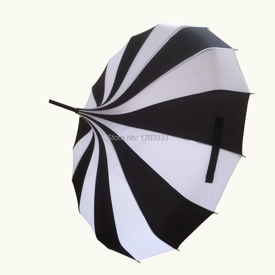 10pcs Creative Design Black And White Striped Golf Umbrella Long-handled Straight Pagoda Umbrella DHL Fedex Free Shipping