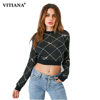 VITIANA Women Casual T Shirt Female 2017 Autumn Long Sleeve Irregular Plaid Tops Tee Loose Exposed