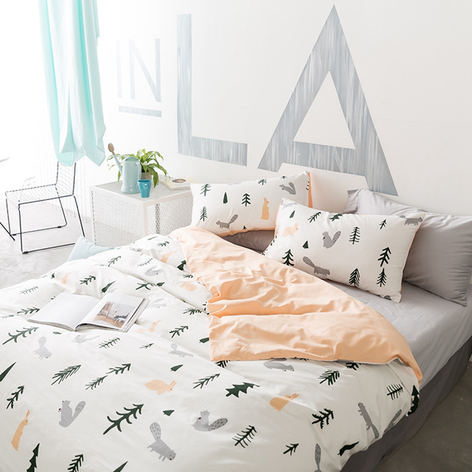 Forest Animal Rabbit Bedding Sets For S Cotton 100 Duvet Cover Grey Bed Sheets Pillow Case Queen King Size Home Linens In From