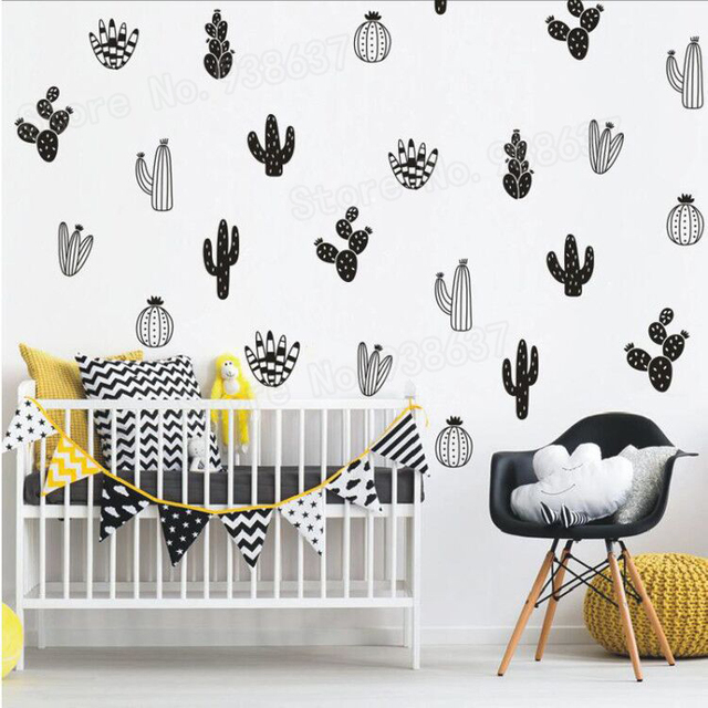 32 Pcs Per Lot Cactus Wall Art Stickers Diy Decal Home Decor Bedroom Removable Plant Nursery